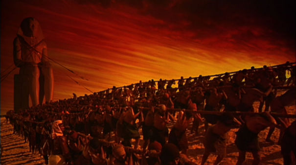 A scene from Cecil DeMille's Ten Commandments - cinematic but not terribly accurate
