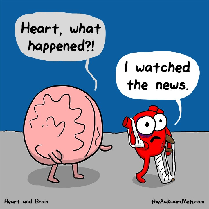 Heart watches the news